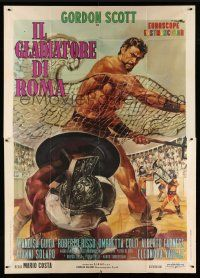1r061 GLADIATOR OF ROME Italian 2p '62 sword & sandal art of Gordon Scott in arena by Ciriello!