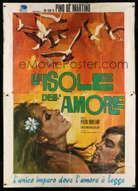 1r072 LE ISOLE DELL'AMORE Italian 2p '70 art of birds flying over lovers by Rodolfo Gasparri!