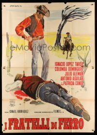 1r075 LOS HERMANOS DEL HIERRO Italian 2p '63 artwork of Mexican cowboy standing over dead guy!
