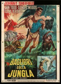 1r076 LOST VOLCANO Italian 2p R62 Johnny Sheffield as Bomba the Jungle Boy, different Rene art!
