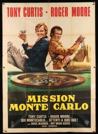 1r079 MISSION MONTE CARLO Italian 2p '74 best art of Roger Moore & Tony Curtis by roulette wheel!
