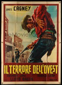 1r080 OKLAHOMA KID Italian 2p R62 cool art of cowboy shot in gunfight, Bogart not billed!