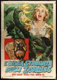 1r099 VOODOO ISLAND Italian 2p '59 Ciriello art of Boris Karloff + girl attacked by plant monster!