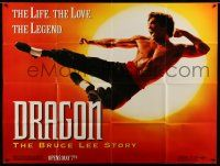 1r025 DRAGON: THE BRUCE LEE STORY subway poster '93 Bruce Lee bio, cool image of Jason Scott Lee!