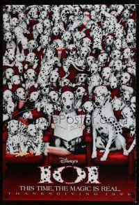 1w002 101 DALMATIANS teaser DS 1sh '96 Walt Disney live action, wacky image of dogs in theater!