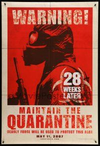 1w006 28 WEEKS LATER teaser DS 1sh '07 Catherine McCormack, Robert Carlyle, cool soldier art!