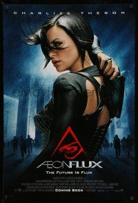 1w030 AEON FLUX advance DS 1sh '05 sexy futuristic Charlize Theron in black outfit!