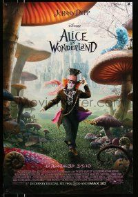 1w034 ALICE IN WONDERLAND advance DS 1sh '10 Johnny Depp as the Mad Hatter surrounded by mushrooms