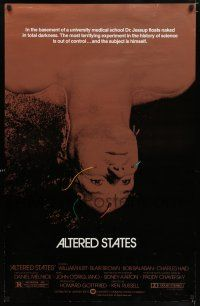 1w039 ALTERED STATES foil 1sh '80 William Hurt, Paddy Chayefsky, Ken Russell, sci-fi!