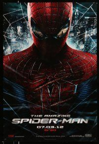1w040 AMAZING SPIDER-MAN teaser DS 1sh '12 portrait of Andrew Garfield in title role over city!