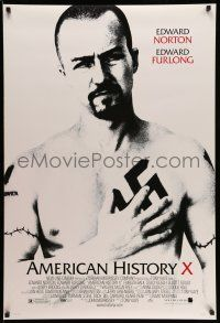 1w045 AMERICAN HISTORY X DS 1sh '98 B&W image of Edward Norton as skinhead neo-Nazi!