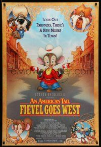 1w051 AMERICAN TAIL: FIEVEL GOES WEST 1sh '91 animated western, there's a new mouse in town!