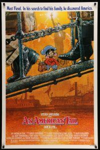 1w050 AMERICAN TAIL style A 1sh '86 Steven Spielberg, Don Bluth, art of Fievel the mouse by Struzan