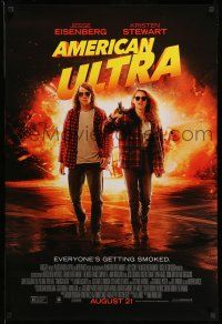 1w052 AMERICAN ULTRA advance DS 1sh '15 great image of Jesse Eisenberg and Kristen Stewart!