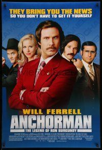 1w054 ANCHORMAN DS 1sh '04 The Legend of Ron Burgundy, image of newscaster Will Ferrell!