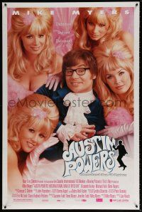 1w065 AUSTIN POWERS: INT'L MAN OF MYSTERY style B DS 1sh '97 spy Mike Myers & sexy fembots!