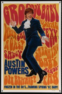 1w067 AUSTIN POWERS: INT'L MAN OF MYSTERY teaser DS 1sh '97 Mike Myers is frozen in the 60s!