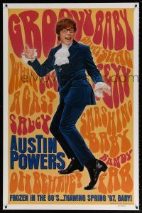 1w066 AUSTIN POWERS: INT'L MAN OF MYSTERY teaser 1sh '97 Mike Myers is frozen in the 60s!