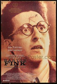 1w075 BARTON FINK DS 1sh '91 Coen Brothers, wacky c/u of John Turturro with mosquito on forehead!