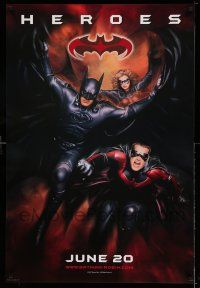 1w077 BATMAN & ROBIN advance 1sh '97 heroes George Clooney, O'Donnell & Silverstone!