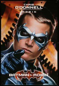 1w081 BATMAN & ROBIN teaser 1sh 97 cool super close up of Chris O'Donnell as Robin in costume!