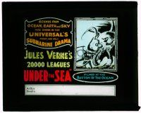 1x003 20,000 LEAGUES UNDER THE SEA glass slide '16 great art of giant octopus crushing divers!