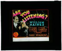 1x008 ARE YOU LISTENING glass slide '32 William Haines, Madge Evans, radio murder mystery!