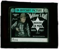 1x017 BREED OF MEN glass slide '19 William S. Hart gets cheated at gambling and becomes sheriff!