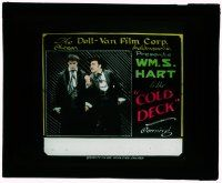 1x021 COLD DECK glass slide R10s sad William S. Hart threatened by man standing by him!