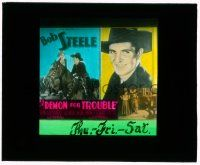 1x024 DEMON FOR TROUBLE glass slide '34 cowboy Bob Steele on horseback, pretty Gloria Shea