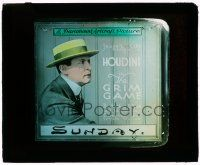 1x002 GRIM GAME glass slide '19 wonderful close image of Harry Houdini with skimmer hat!