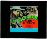 1x033 GUN JUSTICE glass slide '34 cool close up art of Ken Maynard & riding on his horse!