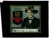 1x036 HANDS OFF glass slide '21 smiling Tom Mix wearing suit, bow tie & cowboy hat!