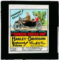 1x001 HARLEY-DAVIDSON Australian glass slide 1910s perfect control, speed & power with sidecar unit!