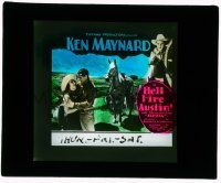 1x038 HELL FIRE AUSTIN glass slide '32 cowboy Ken Maynard with his wonder horse Tarzan!