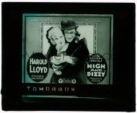 1x041 HIGH & DIZZY glass slide '20 great image of Harold Lloyd & Mildred Davis with telephone!