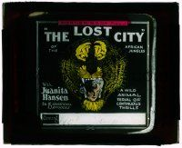 1x049 LOST CITY glass slide '20 great image of Juanita Hansen literally in the jaws of a tiger!