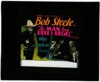 1x053 MAN FROM HELL'S EDGES glass slide '32 Bob Steele full-length & with pretty Nancy Drexel!