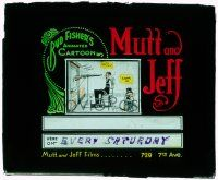 1x061 MUTT & JEFF glass slide '10s great black comedy cartoon art of the duo created by Bud Fisher!