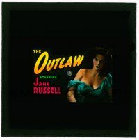 1x064 OUTLAW Australian glass slide '47 wonderful sexiest c/u of Jane Russell w/shirt falling off!