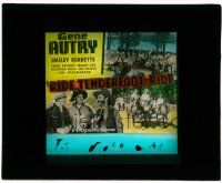 1x072 RIDE TENDERFOOT RIDE glass slide '40 Gene Autry with Smiley Burnette & riding horse!