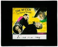1x073 RIDING TORNADO glass slide '32 Tim McCoy close up & also fighting & with his girl!