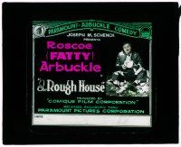 1x076 ROUGH HOUSE glass slide '17 Fatty Arbuckle with broken dishes, co-directed by Buster Keaton!