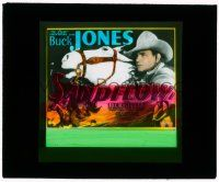 1x080 SANDFLOW glass slide '37 cool close up of cowboy Buck Jones & artwork riding his horse!