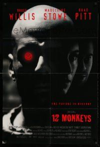 1y009 12 MONKEYS 1sh '95 Bruce Willis, Brad Pitt, Stowe, Terry Gilliam directed sci-fi!