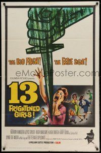 1y010 13 FRIGHTENED GIRLS 1sh '63 William Castle, great screaming women artwork!