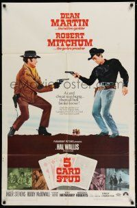 1y012 5 CARD STUD 1sh '68 Dean Martin & Robert Mitchum play poker & point guns at each other!