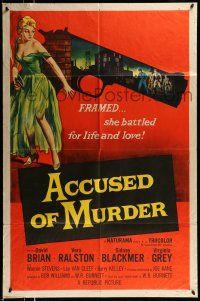 1y017 ACCUSED OF MURDER 1sh '57 cool sexy girl and gun noir image, she battled for life & love!