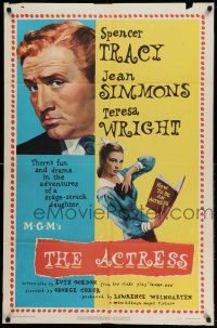 1y018 ACTRESS 1sh '53 Jean Simmons, cool close-up art of Spencer Tracy!