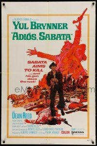 1y020 ADIOS SABATA 1sh '71 Yul Brynner aims to kill, and his gun does the rest, cool art!